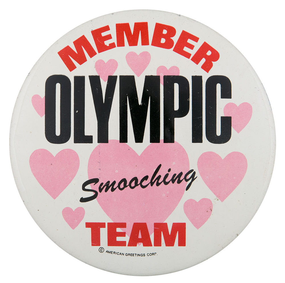 Member Olympic Smooching Team Busy Beaver Button Museum