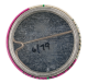Pink and White with Green Line button back Art Button Museum