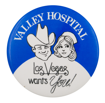 Valley Hospital Advertising Button Museum