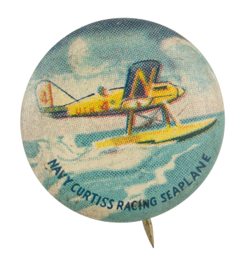 Navy Curtiss Racing Seaplane Advertising Button Museum