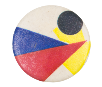 Red and Blue Triangle Abstract Art Button Museum