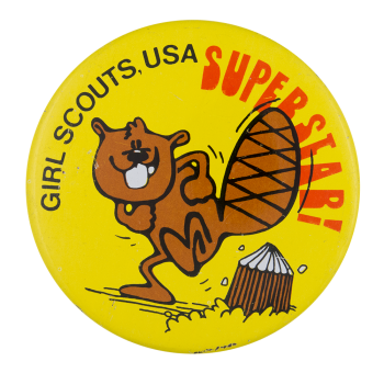 Girl Scouts Superstar Beaver Beavers Button Museum