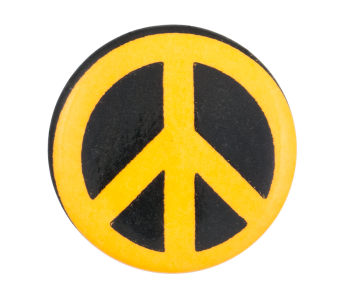 Peace Sign Black and Orange Cause Button Museum