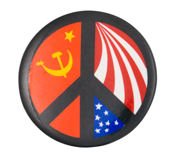 Peace Sign USSR and United States Cause Button Museum