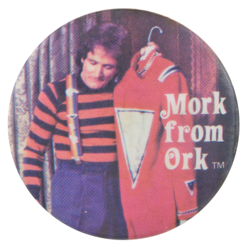 Mork From Ork with Suit Entertainment Button Museum