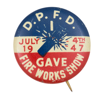 Fire Works Show 1947 Event Button Museum