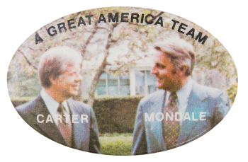 A Great America Team Carter Mondale Political Button Museum