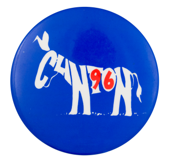 Clinton 96 Donkey Political Button Museum