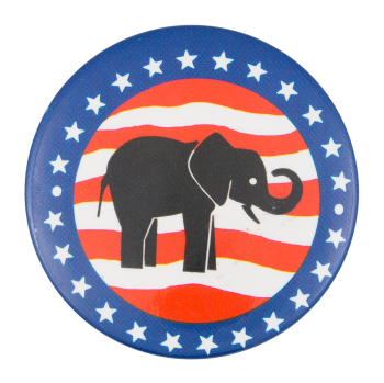 Elephant with Stars and Stripes Political Button Museum
