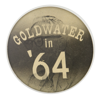 Goldwater in '64 Black and White Glasses Flasher Political Button Museum
