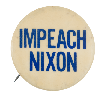 Impeach Nixon Blue on White Political Button Museum