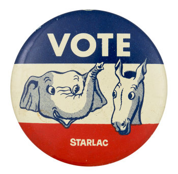 Vote Elephant Donkey Political Button Museum