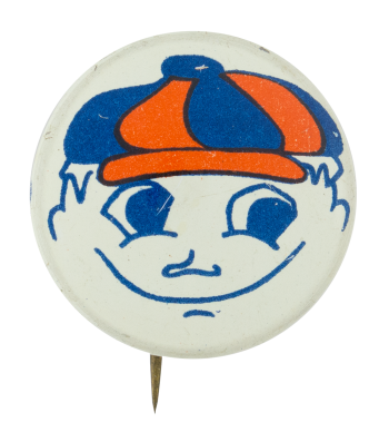 Orange and Blue Hat Smiley Smileys Button Museum