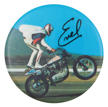 Evel Knievel Wheelie Entertainment Button Museum