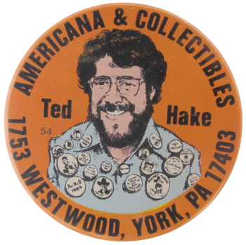 Ted Hake Self Referential Art Advertising Button Museum