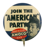 American AMOCO Gas Advertising Button Museum