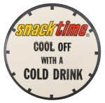 Snack Time With A Cold Drink Advertising Button Museum