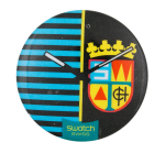 Swatch blue and black Advertising Button Museum