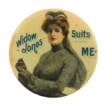 WIdow Jones Suits Me Advertising Button Museum