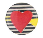 Abstract Art with Red Heart Art Button Museum