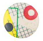 Abstract with Grid and Red Circles Art Button Museum
