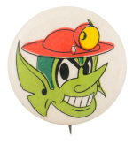 Green Character in Red Hat Art Button Museum