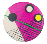 Pink and White with Green Line Art Button Museum