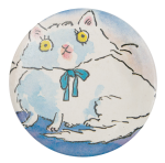 White Cat in Blue Bow Art Button Museum