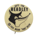 Headly Fox Head 400 Beer Beer Button Museum