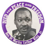 Died For Peace and Freedom Cause Button Museum
