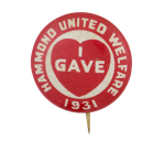 Hammond United Welfare Cause Button Museum