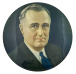 Franklin D. Roosevelt Color Portrait Political Button Museum