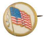 Gold Rim United States Flag Political Button Museum