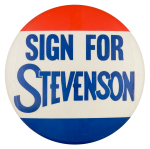 Sign for Stevenson Political Button Museum