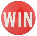 Win Red and White Large Political Button Museum
