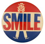 Red and Blue Smile Guy Social Lubricators Button Museum