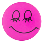 Closed Eyes Pink Smiley Smiley Button Museum