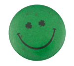 Green Glitter Shamrock Eyes Smileys Button Museum