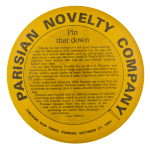 Pin That Down Parisian Novelty Company Self Referential Button Museum