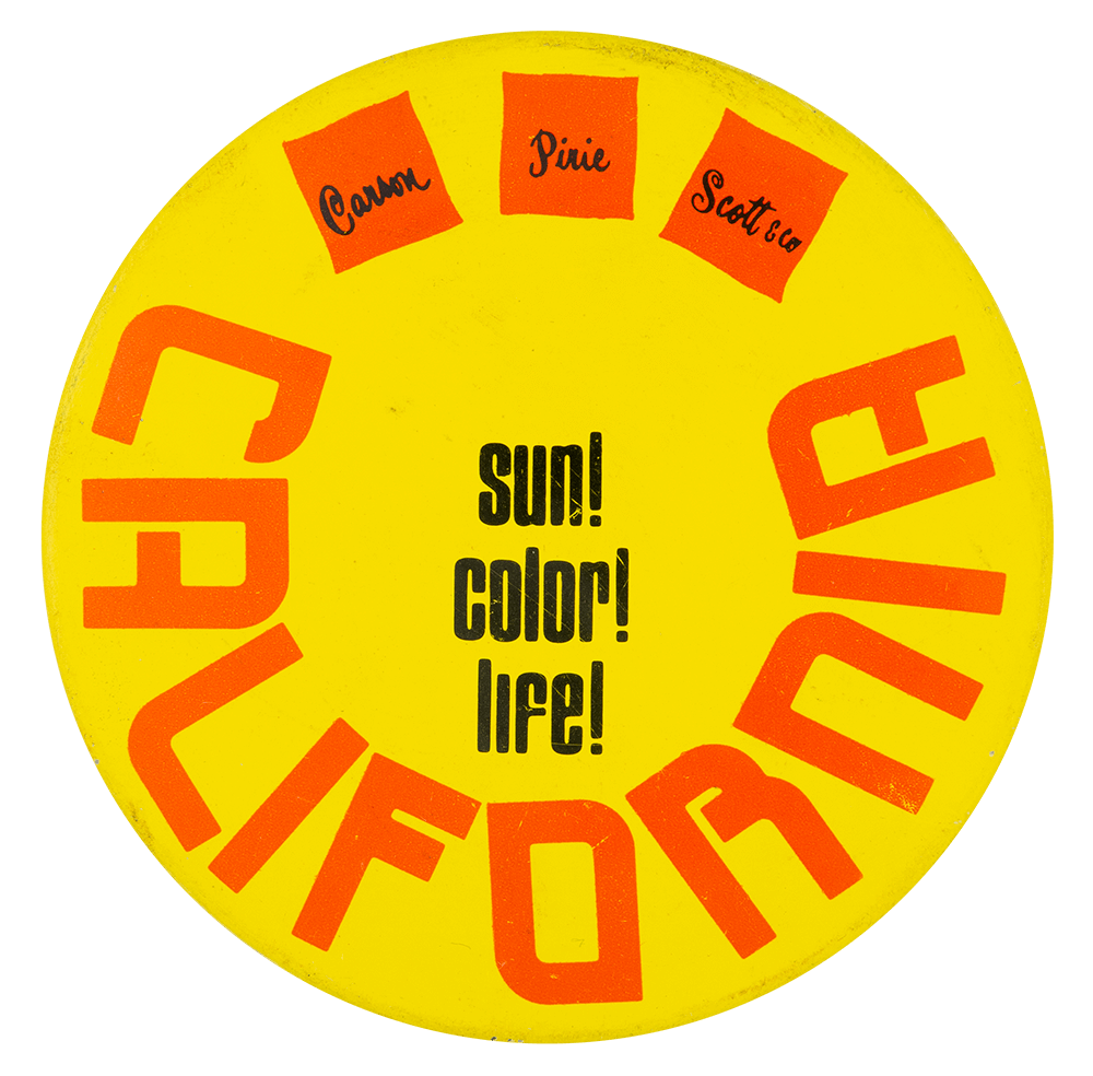 Sun Color Life Advertising Button Museum