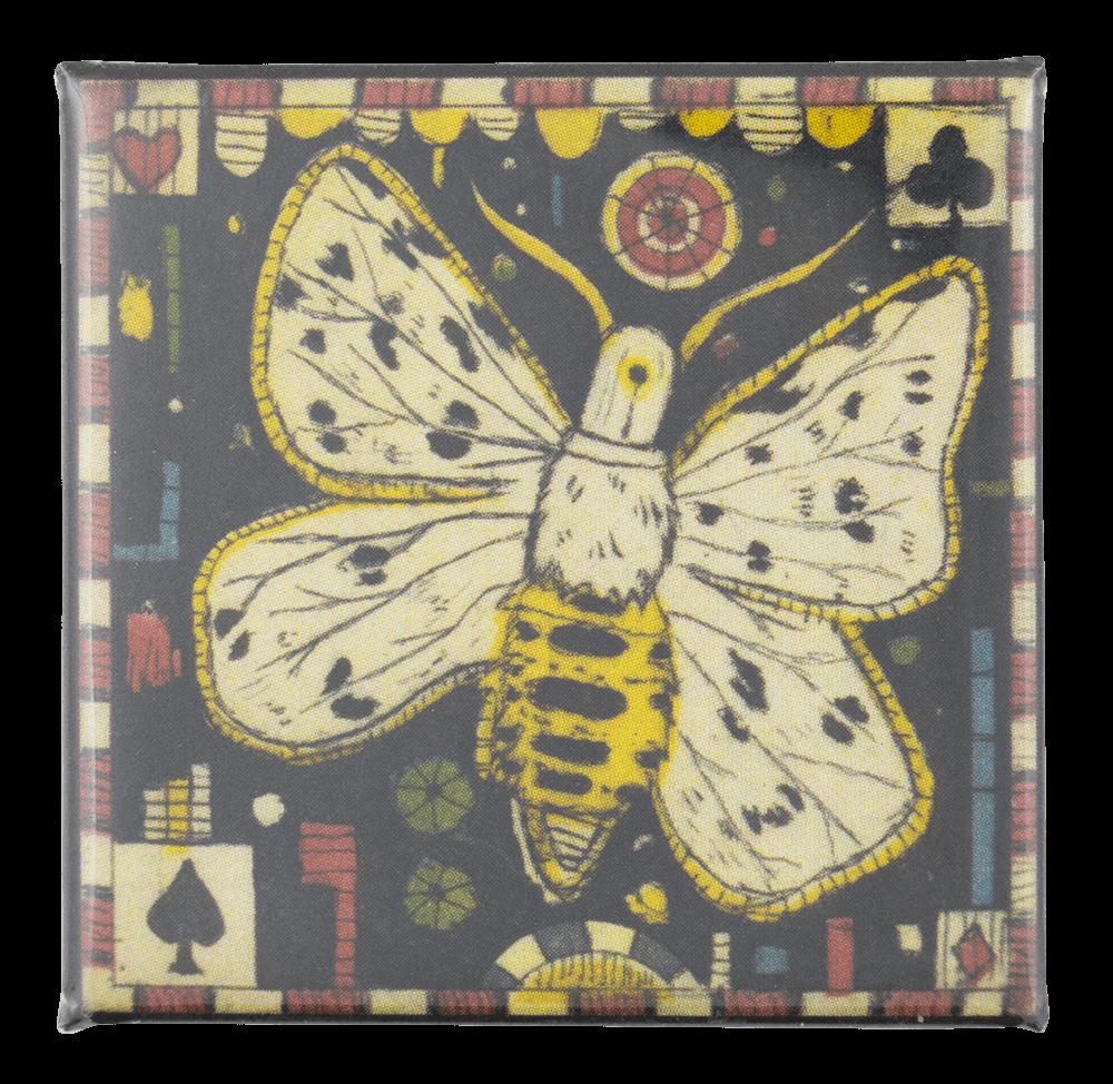 Tony Fitzpatrick Winter Night Moth Art Button Museum