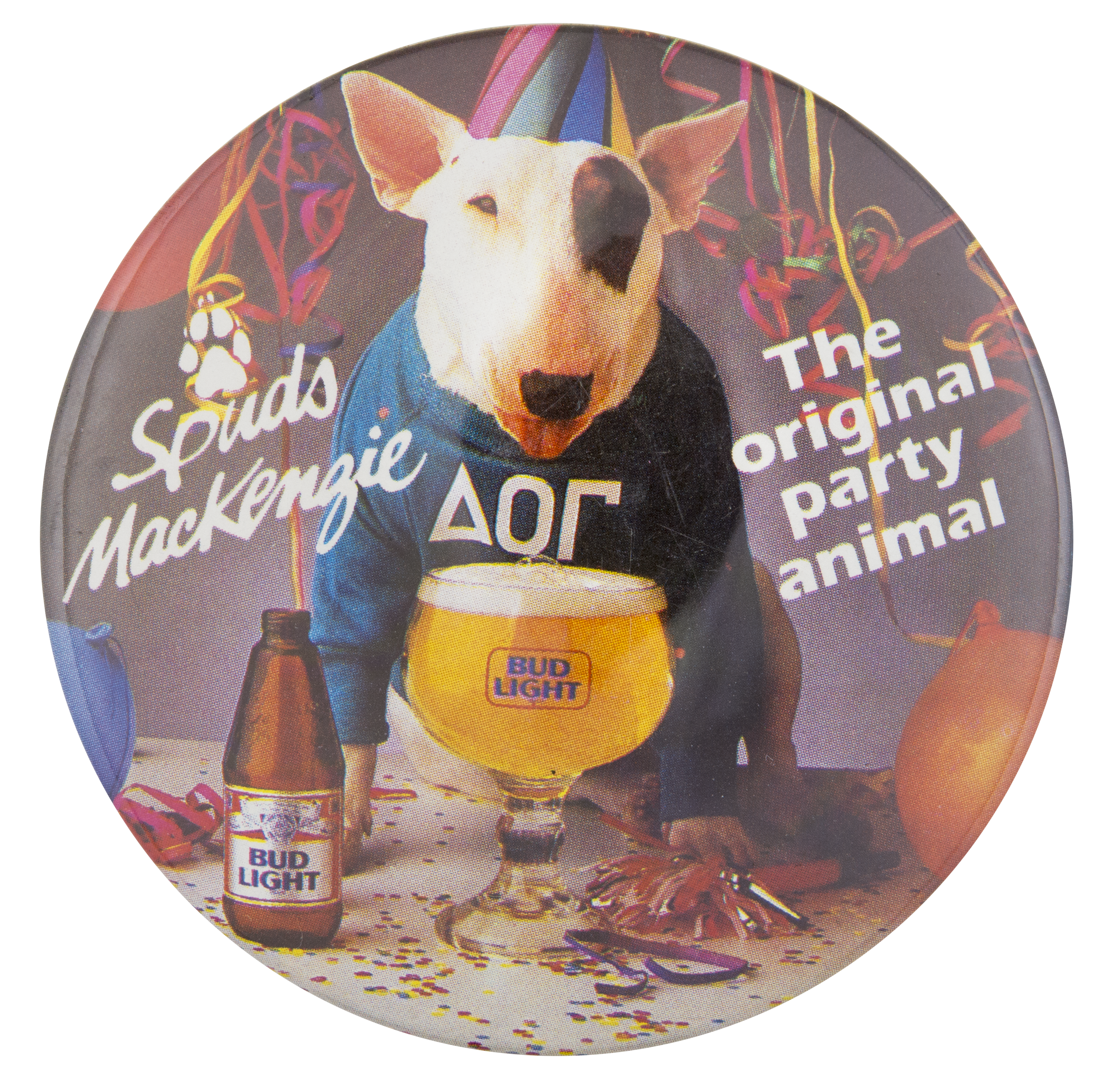 bud light spuds mackenzie party animal busy beaver button museum