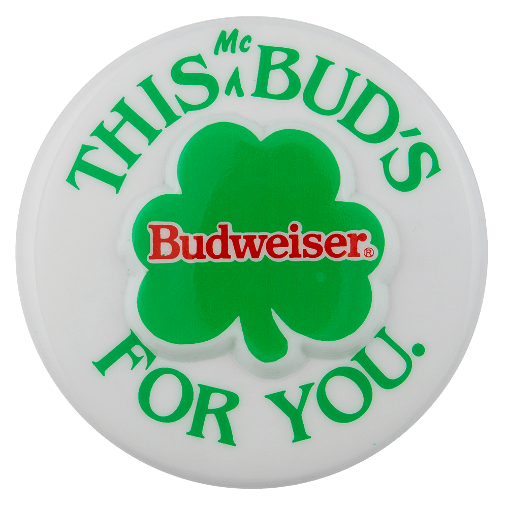 Budweiser 3D Shamrock Beer Busy Beaver Button Museum