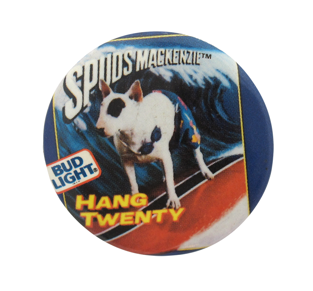 bud light spuds mackenzie busy beaver button museum