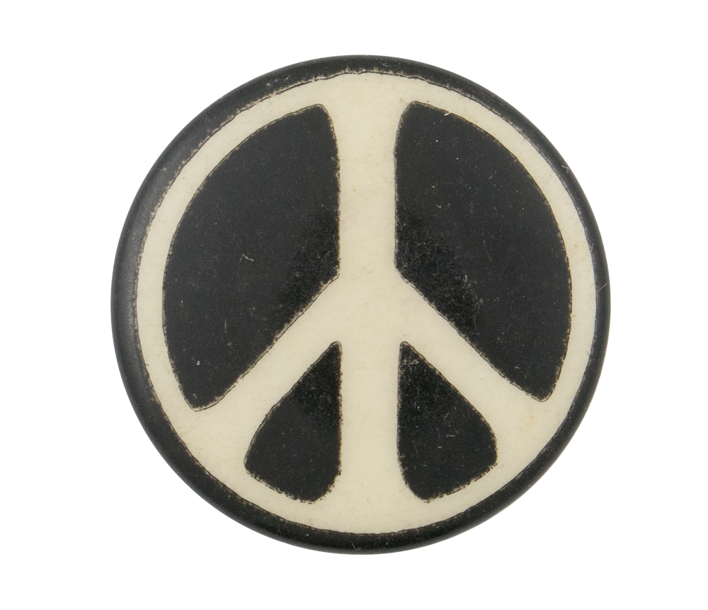 Peace Sign Black And White Two Busy Beaver Button Museum
