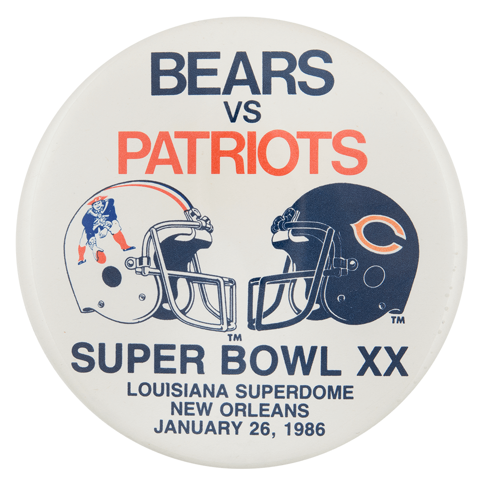 Bears vs Patriots 1986 Chicago Button Museum