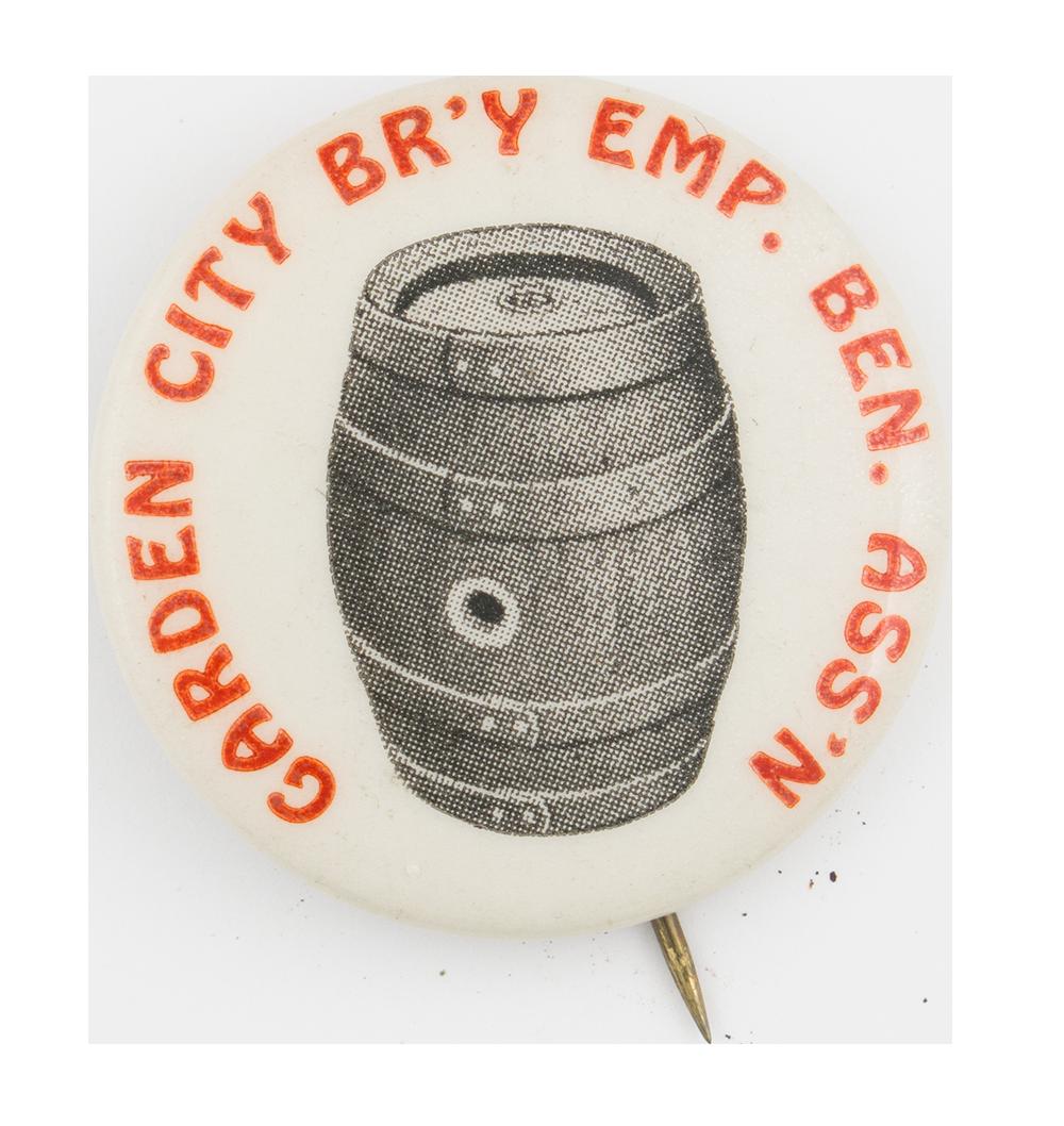 Garden City Brewery Employee Benefit Association Club Button Museum