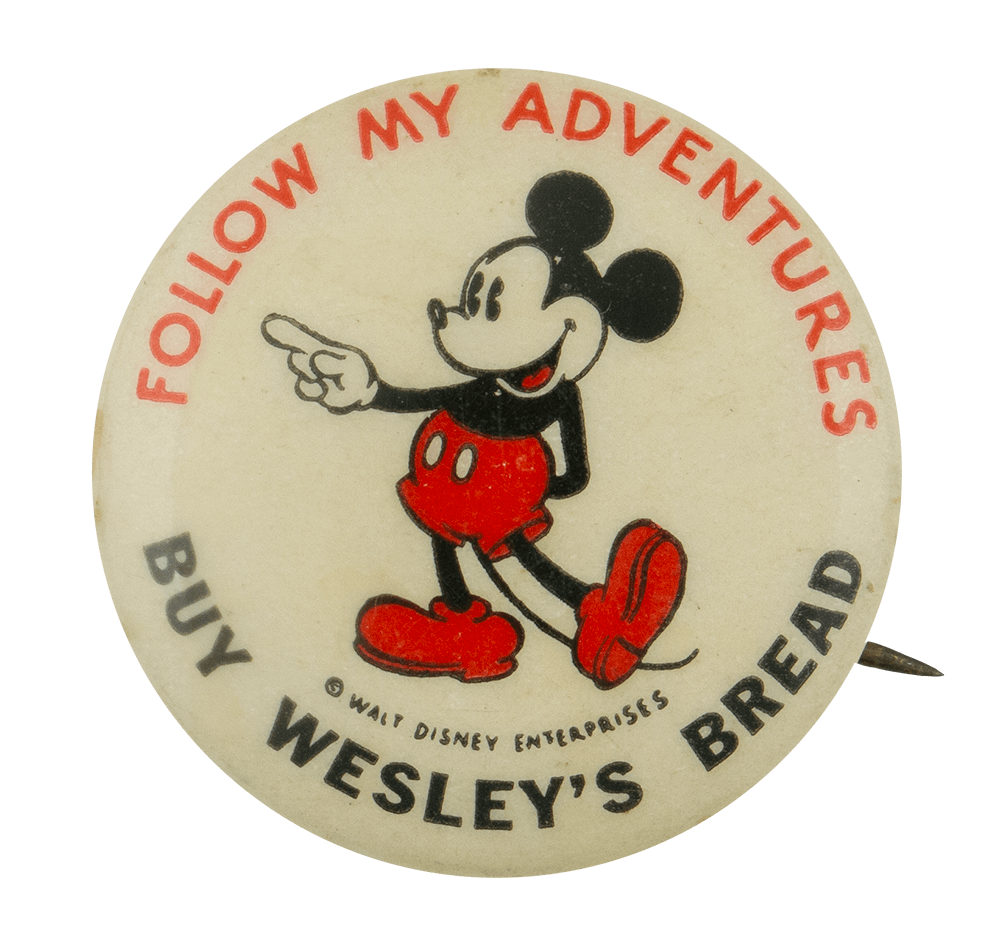 Mickey Mouse Buy Wesley's Bread Entertainment Busy Beaver Button Museum