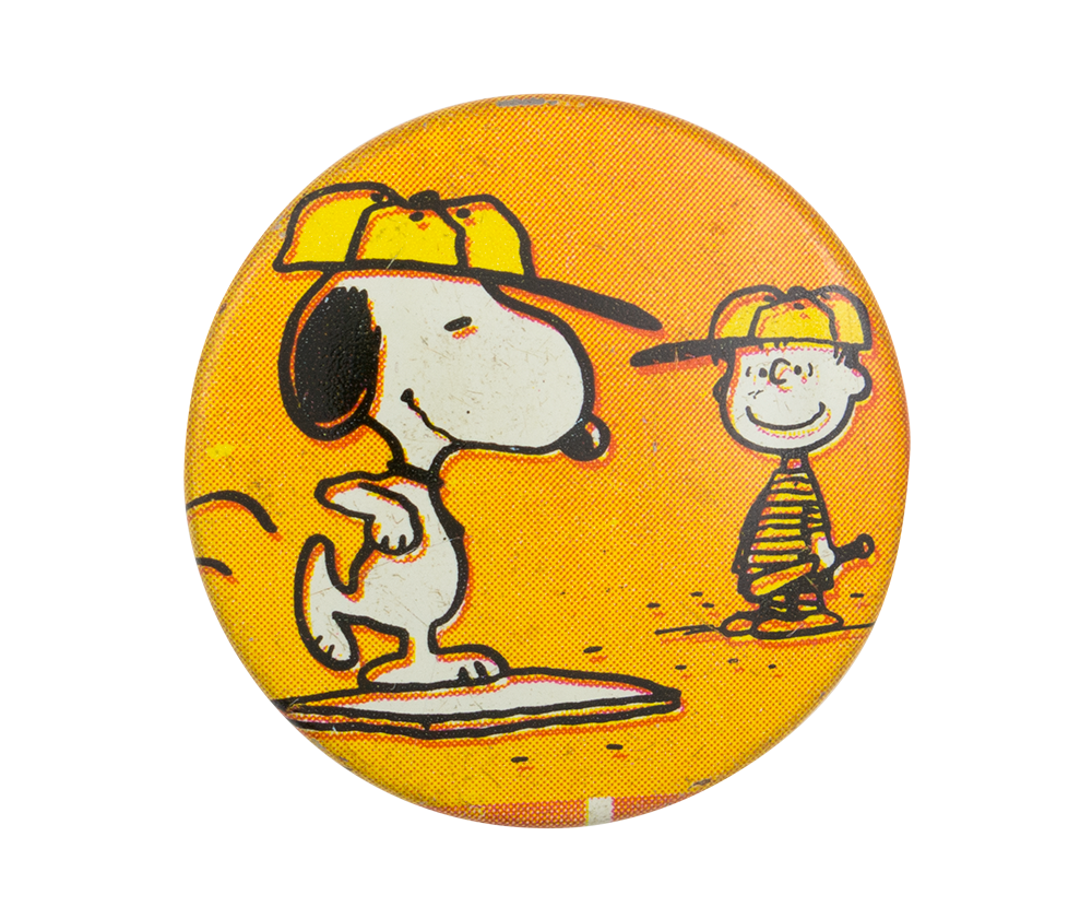 Snoopy and Linus Playing Baseball | Busy Beaver Button Museum Register Here Button Orange