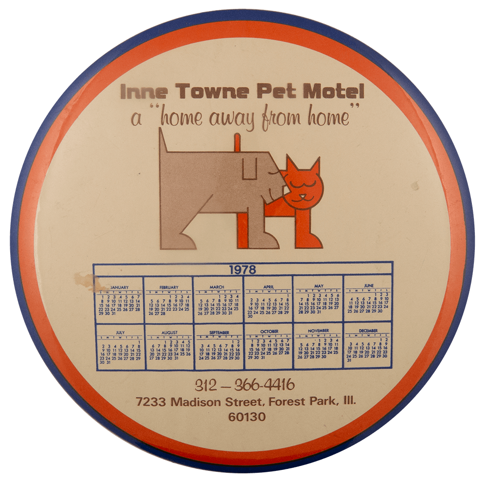 Inne Towne Pet Motel Event Busy Beaver Button Museum